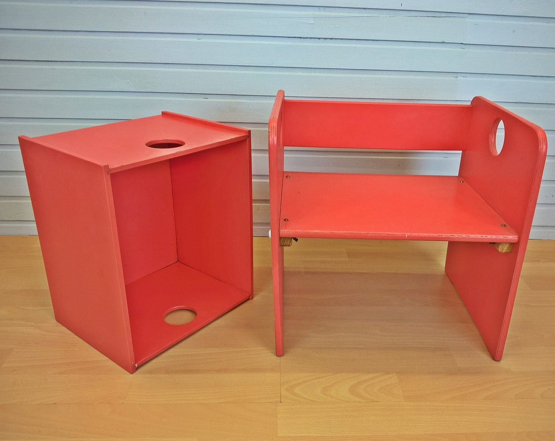 Stool with box wooden stool for kids 1 of 2 *Berliner Stool* Live Vintage with pimp-factory.de