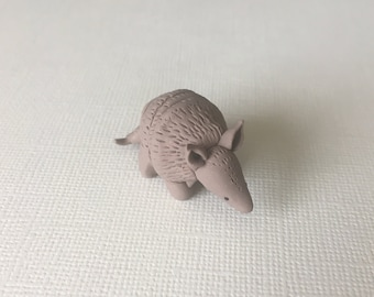 Miniature armadillo figurine, cute little armadillo, tiny armadillo sculpture, small armadillo, adorable armadillo ornament, custom color