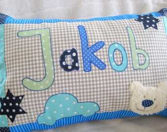 """Pillow """"Bear for Boys"""" with names for boys, children's pillows with names, beige, green, blue, mint"""