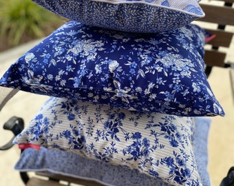 """Wish - Decorative pillow """"Travel to the Blue"""" blue, white, desired size, desired fabric, bygericke"""