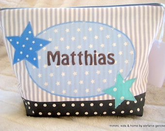 Toiletry bag or diaper bag with name