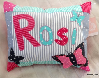"""Name pillow """"SchmeTTerlings,"""" grey-pink for girls,"""
