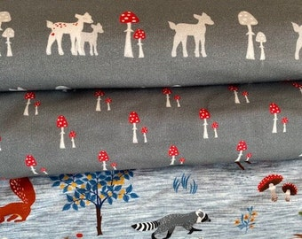 """Children Winter - Jersey fabric """"Forest animals and deer"""" blue, grey, brand quality, bygericke"""