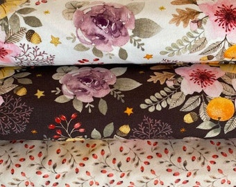 """Winter Jersey """"Autumn Flowers"""" or Jersey Rose hips, brown, winter white, rose, brand quality, bygericke"""