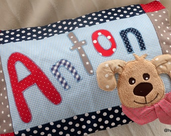 """Name pillow for boys """"BestFriend"""" with desired name, children's pillow for boys, bygericke, blue, light blue, taupe, red, beige"""