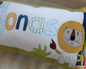 "Name pillow for boys ""Löwenstark"" with desired name, children's pillow for boys, bygericke, yellow, blue, green, light gray"