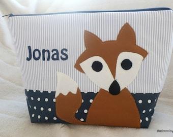 "ready!!!! Name Jonas toiletry bag / diaper bag for boys ""Little Fox"" with desired name, grey, dark blue, curry, bygericke"