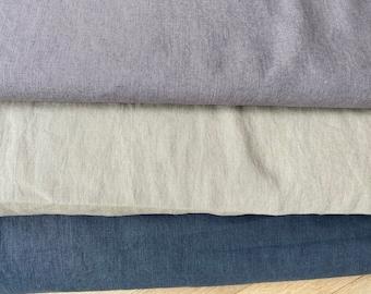 Linen fabric, enzymed washed, dark grey, beige, taupe, metreware, bygericke,