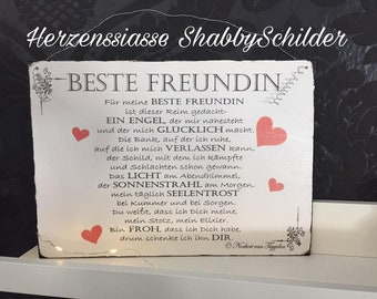 """Shabby wooden sign """"best friend"""""""