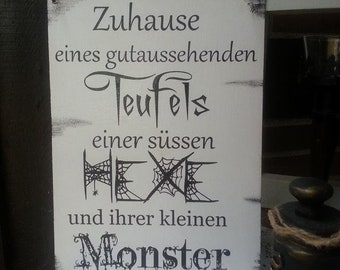 Devil Witch Monster Door Shield DinA4