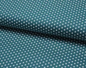Mini Stars - Small Stars on Teal - Cotton 0.5 m