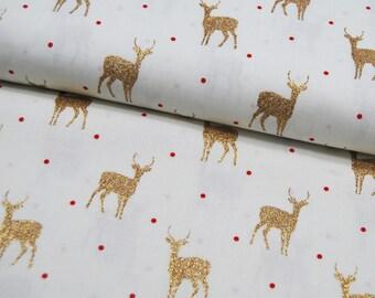 Cotton - Golden Deer on White - 0.5 m