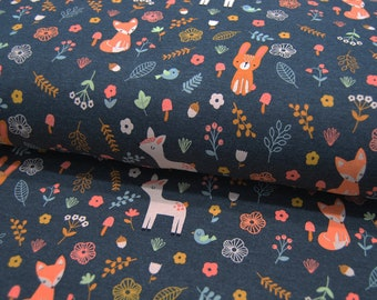 Jersey - Forest Friends - Forest Animals on Anthracite Melange - 0.5 meters