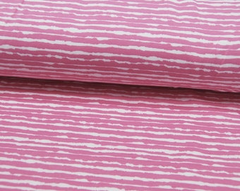 Jersey - Wild stripes in pink - White - 0.5 meters