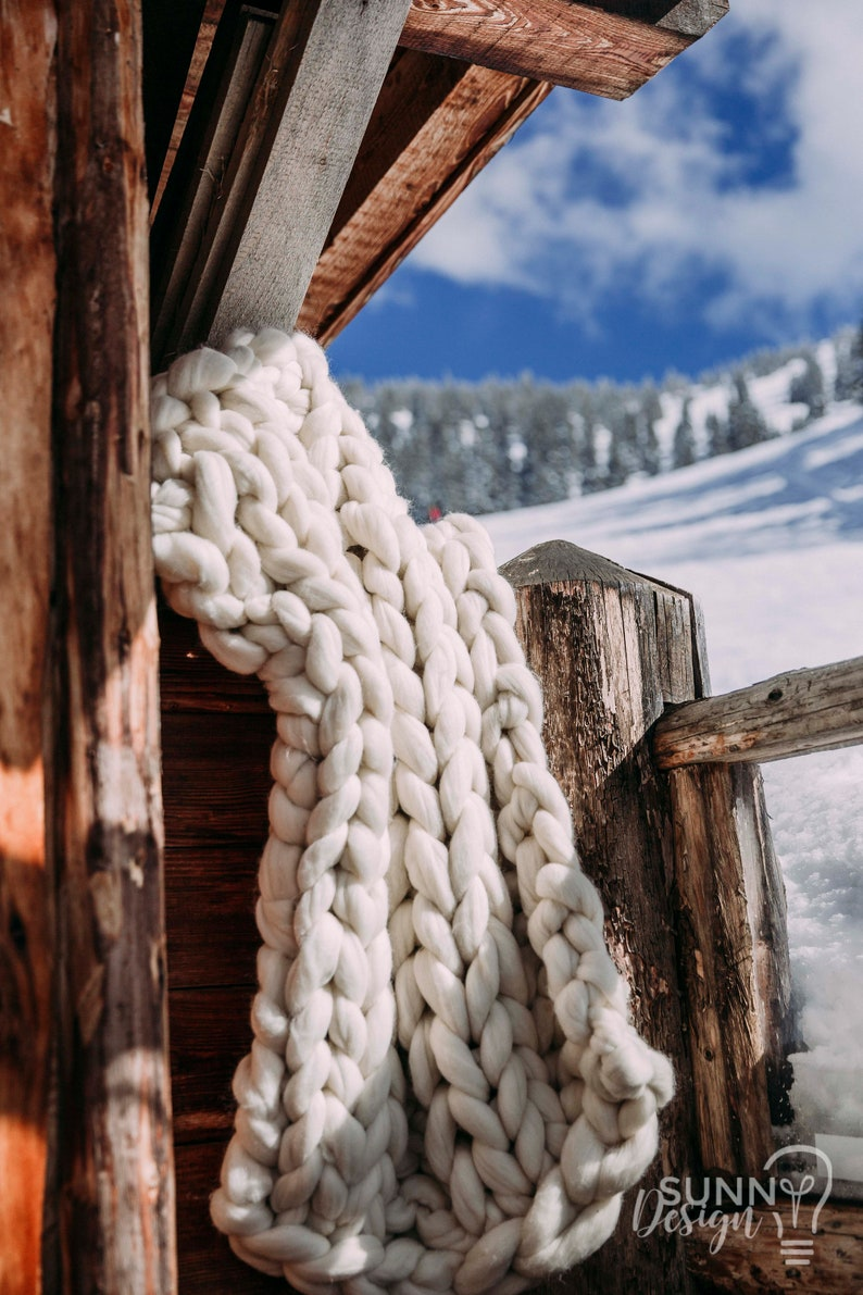 XXL wool blanket chunky blanket day blanket 100% merino hand image 0