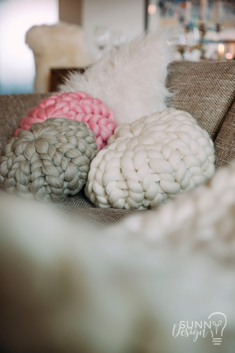 Pillow of merino wool coarse knit cushions different sizes image 0