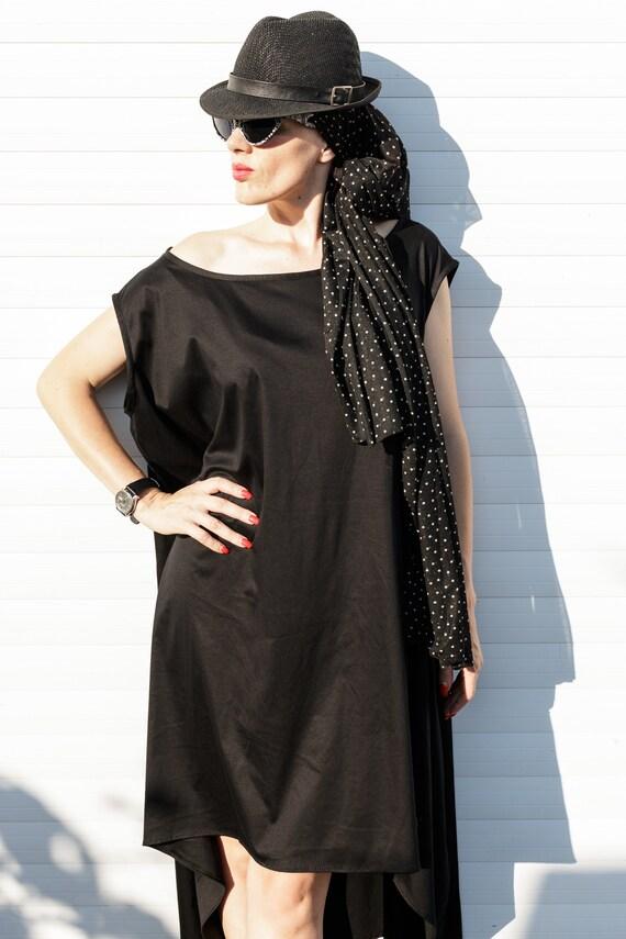 Dress Asimetria Black Dress Loose Dress Summer Etsy