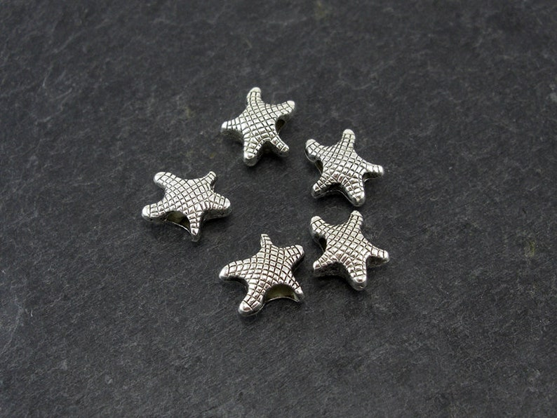 5 beaded starfish large hole pearl silver-colored