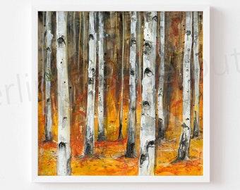 "Fineartprint ""Birkenwäldchen"", high-quality print of acrylic painting"