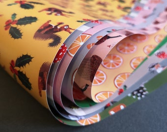 5 sheets of colourful winter and Christmas paper, printed on both sides, decorative paper, handicraft paper, A2 (42 x 59.4 cm)