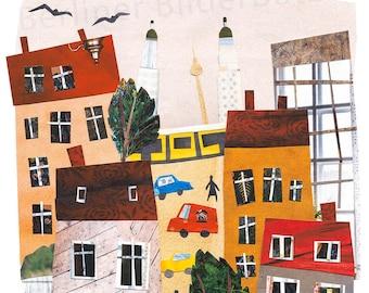 "Fineartprint ""Berlin"", Friedrichshain, high-quality print of a paper collage"