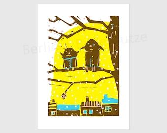 "Colourful postcard ""Winter fun"", digital print of linocut, Christmas card, DIN A6, 105 x 148 mm"