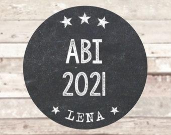 ABI 2021 Aufkleber 15 x ø 5 cm personalisiert mit Name tafellook Party Dekoration Schulabschluss Abitur Abiball Abi Party