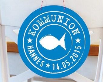 Kommunion 24 Aufkleber Personalisiert ø 4cm Fisch
