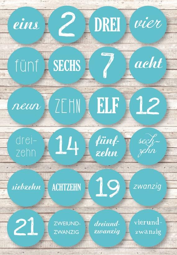 24 Zahlen Aufkleber Adventskalender Text Und Zahl Diy