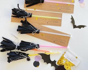 Glowstick Broom Kids Halloween Classroom Handout   DIY Halloween Handout   Halloween Crafts for Kids   Halloween Party Favor