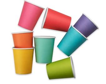 Rainbow Art Party Paper Cups | 16-pack | Multicolor Assorted Cup Pack | Rainbow Paper Party Cups | Rainbow Party Decor