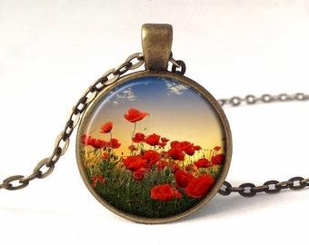 Locket Necklace Red Poppies Locket Red Poppy Flower In Field Blue Sky Unique Art Necklace Jewellery Gift Handmade By Verabel