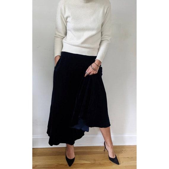 Vintage Ralph Lauren Blue Velvet Maxi Skirt w/ Po… - image 2