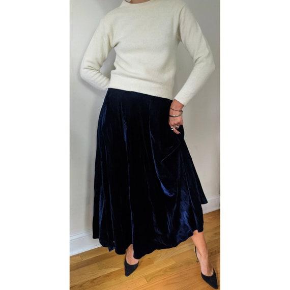 Vintage Ralph Lauren Blue Velvet Maxi Skirt w/ Po… - image 7