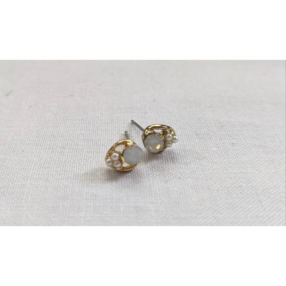 Vintage Moon Stone Stud Earrings