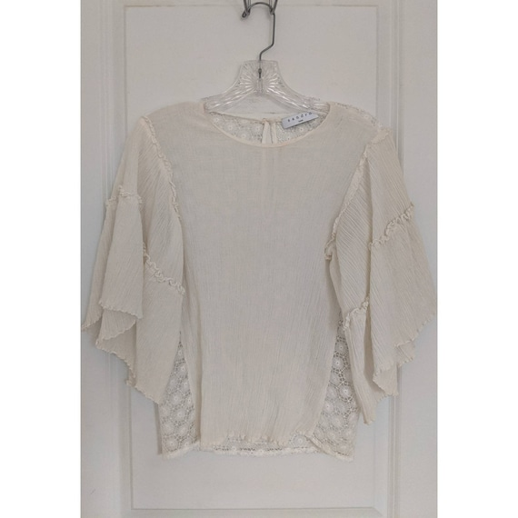 Vintage SANDRO Paris White Sheer Blouse