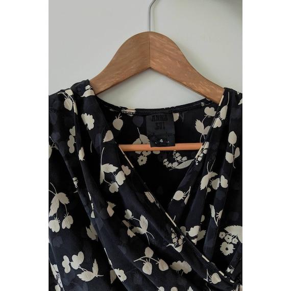 Vintage Anna Sui Silk Peplum Blouse - image 3