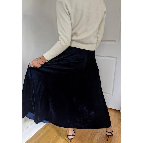 Vintage Ralph Lauren Blue Velvet Maxi Skirt w/ Po… - image 4