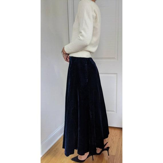 Vintage Ralph Lauren Blue Velvet Maxi Skirt w/ Po… - image 3