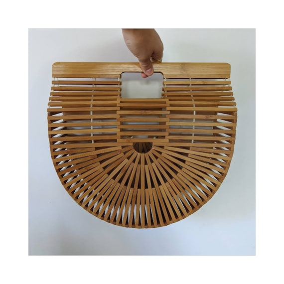 Vintage Half-Moon Bamboo Wood Picnic Basket Purse
