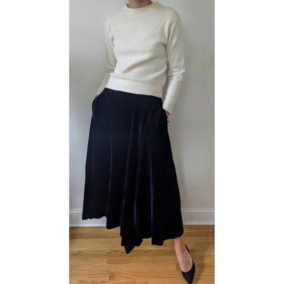 Vintage Ralph Lauren Blue Velvet Maxi Skirt w/ Po… - image 1