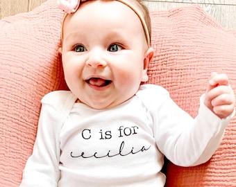 "Child Name Shirt! Baby Name Shirt Long Sleeve OR Short Sleeve! Birth Announcement Shirt! ""Alphabet"" Shirt!"