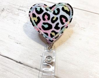 Cheetah Heart Badge Reel Clips! Cheetah Badge Reel Felties! Nurse badge! Teacher Badge! Cheetah print!