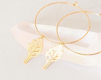 Earrings with Leaf / Tree Pendant, Large Earrings Gilded