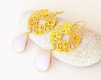 Lavender Chalcedon Earrings 925 Silver Plated with Large Mandala Ornament