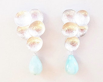 Aquamarine studearrings silver, earrings with gemstone briolettes, gift for women
