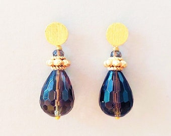 Smoky Quartz Earrings with Studs 925 Silver Gold Plated