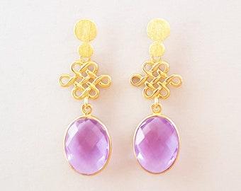 Alexandrite quartz earrings 925 silver plated, design gemstone stud earrings