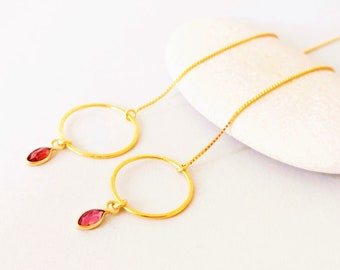 Chain Earrings Garnet and Circle Pendant / Puller Earrings 925 Silver Gold Plated