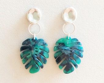 Earrings with Monstera Leaf Pendant, Large Boho Earrings Silver Green